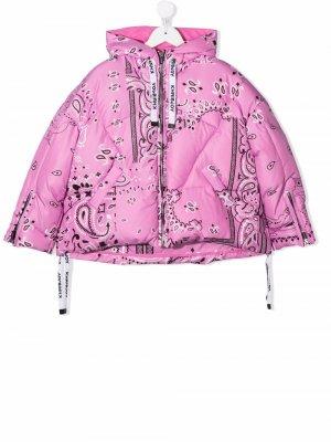 Bandana-print down jacket Khrisjoy KIDS. Цвет: розовый