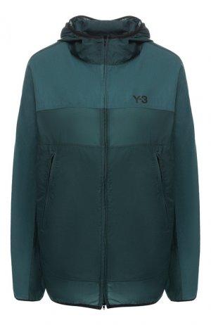 Ветровка с капюшоном Y-3. Цвет: зелёный