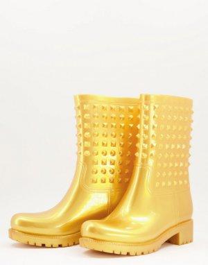 Золотистые резиновые сапоги с шипами Grateful-Золотистый ASOS DESIGN