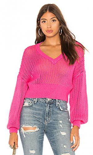 Пуловер с v-образным вырезом jaz Lovers + Friends. Цвет: фуксия
