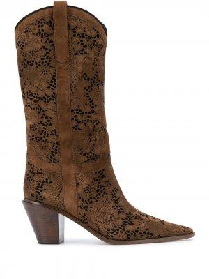 Floral lace Texas boots Casadei. Цвет: коричневый