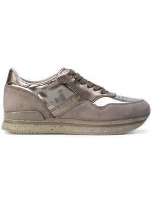 Кроссовки Chaussure на шнуровке Hogan. Цвет: золотистый