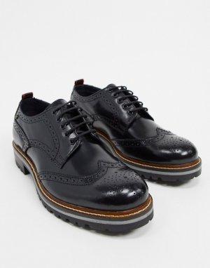 Черные блестящие ботинки-броги Сolver-Черный Base London