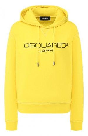 Хлопковое худи Dsquared2. Цвет: желтый