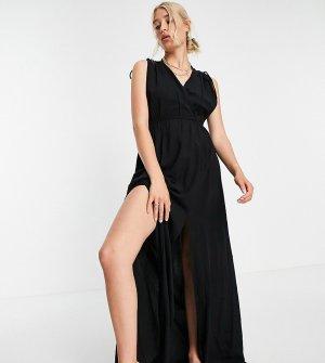 Черное пляжное платье макси из переработанных материалов со сборками Tall-Черный цвет ASOS DESIGN