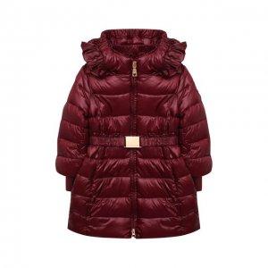 Утепленное пальто Monnalisa. Цвет: красный