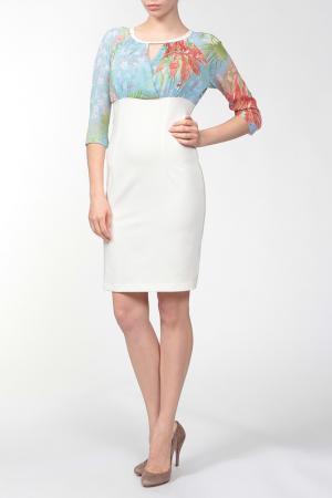 Платье PAVLINA. Цвет: молочный, небесно-голубой