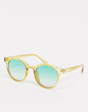 Круглые солнцезащитные очки цвета хаки с зелеными стеклами -Зеленый AJ Morgan