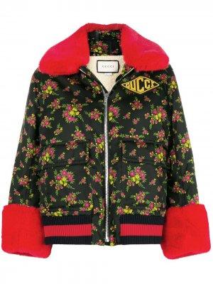 Куртка-бомбер с цветочным принтом Gucci. Цвет: черный