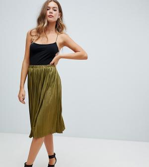 Плиссированная юбка-миди цвета хаки Missguided