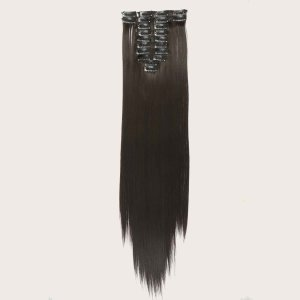 Длинный прямой шиньон с зажимом 22шт SHEIN. Цвет: коричневые