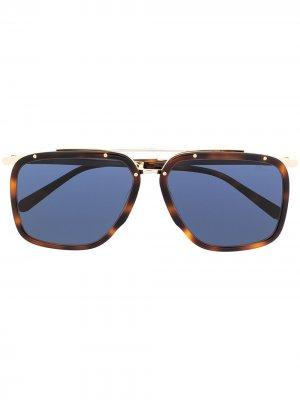Солнцезащитные очки-авиаторы Brioni. Цвет: коричневый