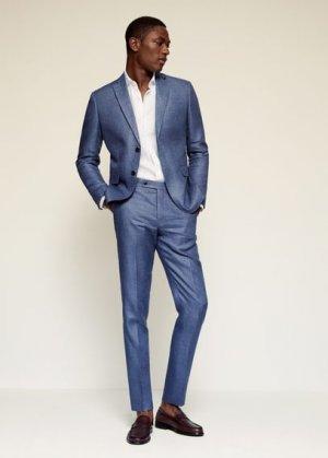 Костюмный пиджак slim fit изо льна - Florida-i Mango. Цвет: индиго