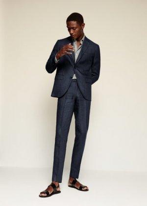Костюмные брюки slim fit изо льна - Florida Mango. Цвет: темно-синий