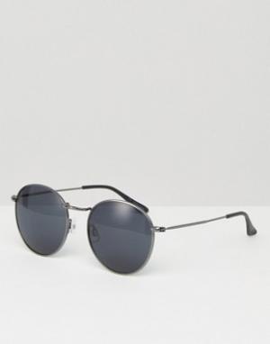 Круглые солнцезащитные очки в серебристой оправе Jack & Jones. Цвет: серебряный