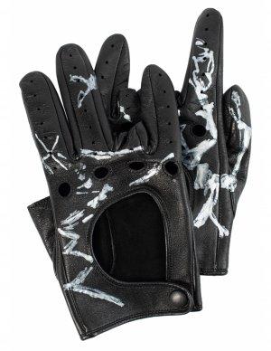 Кожаные перчатки с принтом Yohji Yamamoto