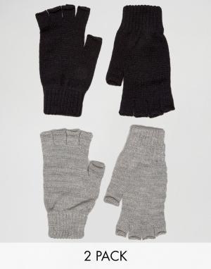 2 пары перчаток без пальцев ASOS. Цвет: мульти