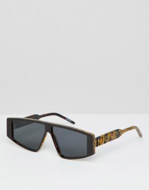 Солнцезащитные очки в квадратной черепаховой тонкой оправе Spitfire. Цвет: коричневый