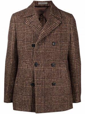 Двубортный пиджак в ломаную клетку Corneliani. Цвет: коричневый