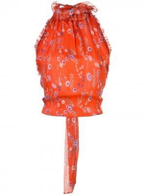 Блузка Balbina с вырезом халтер Alexis. Цвет: красный