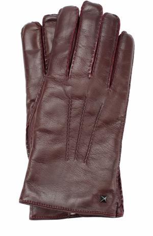 Кожаные перчатки с кашемировой подкладкой Valentino. Цвет: бордовый