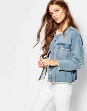 Укороченная джинсовая куртка с неподрубленной кромкой Hanna Waven. Цвет: синий
