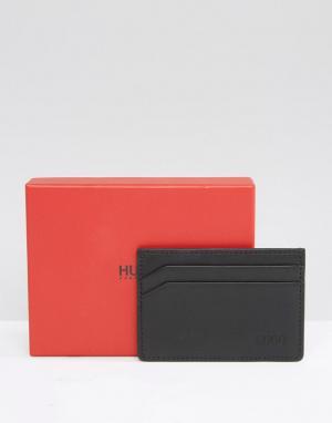 Кожаный кошелек для карт HUGO By Boss Subway. Цвет: черный