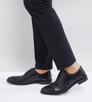 Черные оксфордские броги из кожи для широкой стопы ASOS DESIGN. Цвет: черный