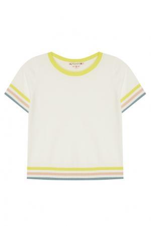 Пуловер с контрастной отделкой Bonpoint. Цвет: белый