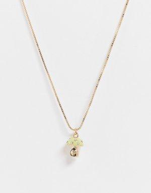 Золотистое ожерелье с зеленой подвеской в виде гриба -Золотистый ASOS DESIGN