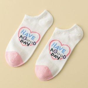 Носки до щиколотки с принтом сердечка SHEIN. Цвет: многоцветный