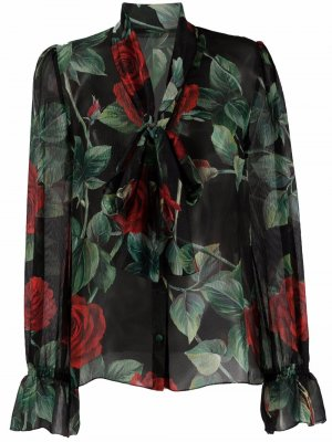Floral-print silk shirt Dolce & Gabbana. Цвет: черный