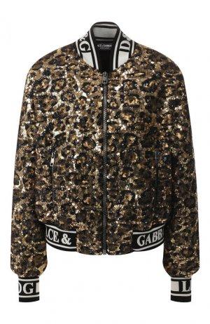 Бомбер с пайетками Dolce & Gabbana. Цвет: чёрный