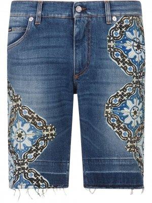 Декорированные джинсовые шорты Dolce & Gabbana. Цвет: синий
