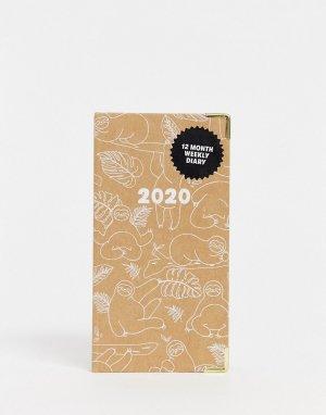 Еженедельник на 2020 год с принтом ленивцев обложке Typo-Мульти TYPO