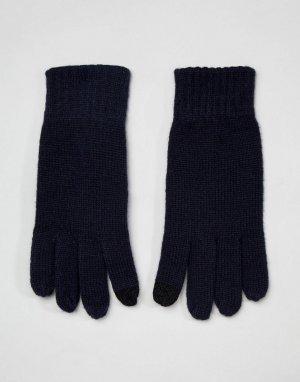Перчатки в рубчик для сенсорных экранов -Темно-синий French Connection