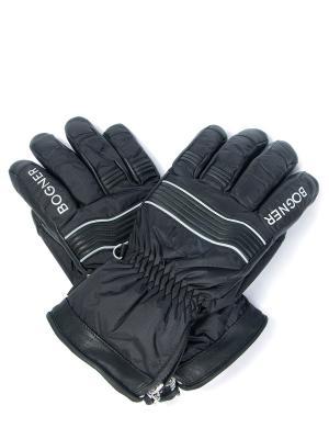 Комбинированные перчатки BOGNER. Цвет: черный