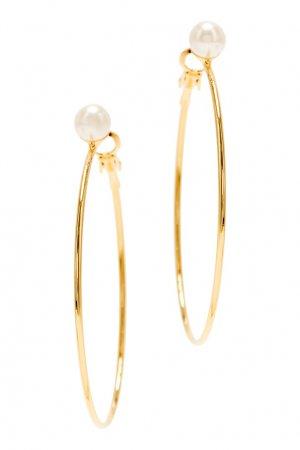 Золотистые серьги-кольца с жемчугом Aqua. Цвет: золотой