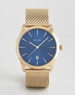 Золотистые часы с контрастным циферблатом -Золотой Sekonda