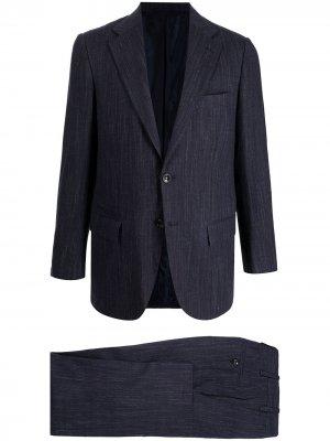Строгий костюм с однобортным пиджаком Kiton. Цвет: синий