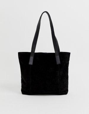 Замшевая сумка-шоппер со съемным кошельком -Черный ASOS DESIGN