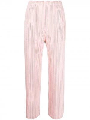 Укороченные плиссированные брюки с драпировкой Pleats Please Issey Miyake. Цвет: розовый
