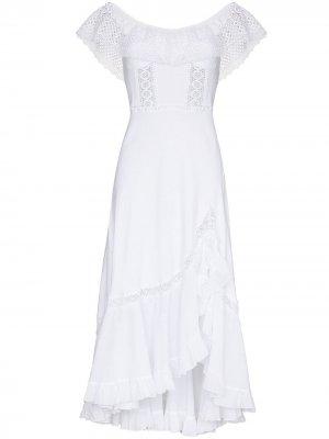 Платье миди Louise с открытыми плечами Charo Ruiz Ibiza. Цвет: белый