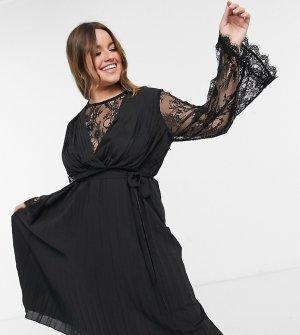 Черное плиссированное платье миди с кружевными вставками Plus-Черный Elvi