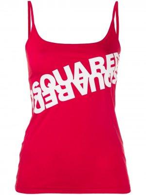 Топ без рукавов с логотипом Dsquared2. Цвет: красный