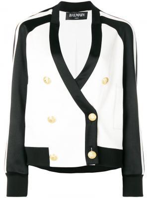 Двубортная куртка-бомбер Balmain. Цвет: белый
