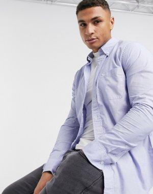 Голубая поплиновая рубашка с логотипом -Синий Abercrombie & Fitch