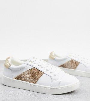 Белые кроссовки на шнуровке со змеиными полосками -Белый Dune
