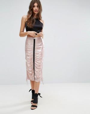 Юбка миди с эффектом металлик -Розовый ASOS DESIGN