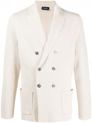 Двубортный пиджак из джерси Drumohr. Цвет: белый